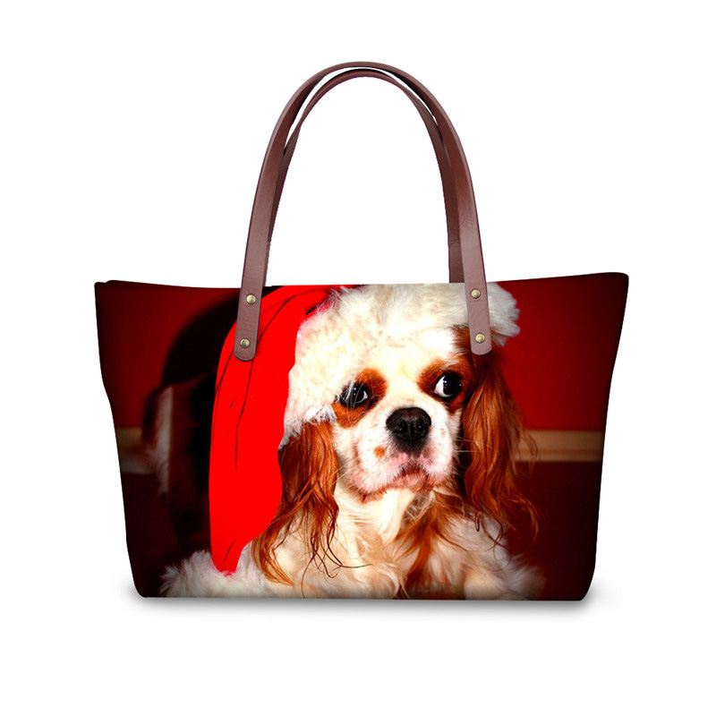 Fashion Women Big Top-handle Bags Merry Christmas Tote Cross-body Bag for Ladies Animal Shih Tzu Dog Messenger Bags