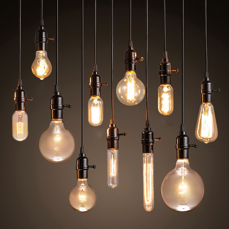 Vintage pendant lights american style lamp industrial for Ampoule suspension luminaire