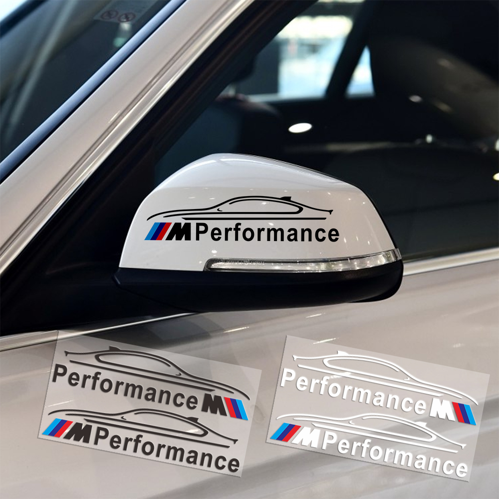 2PCS M Performance Logo Rearview Mirror Car Stickers Decoration For BMW E34 E36 E39 E53 E60 E90 F10 F30 M3 M5 M6 Car-Styling 2pcs leather car seat leakproof pad cover leak plug seam cushion for bmw m performance e46 e39 e36 e60 e90 e34 f10 f30 e30 x5
