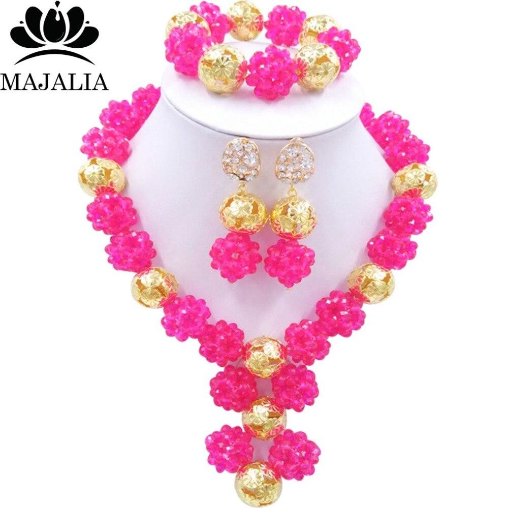 Buy fashion hot pink nigeria wedding for Pink wedding jewelry sets