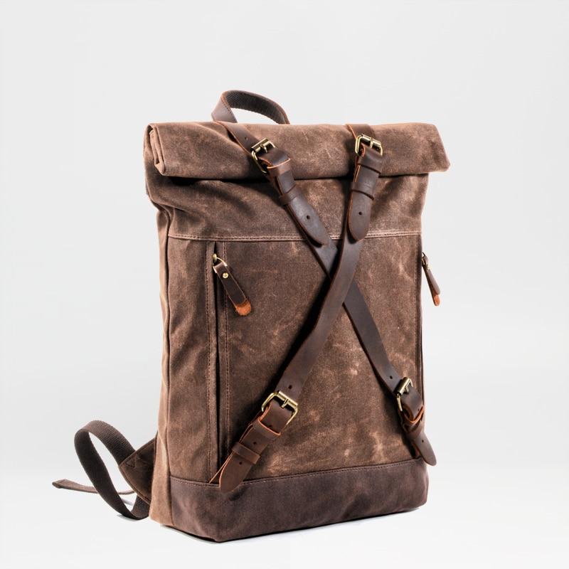 MUCHUAN unisexe dur huile ciré toile cuir sacs à dos criss-cross étanche sac à dos hommes pour voyage 15