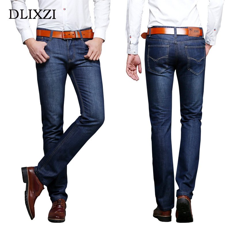 DLIXZI men straight denim pants stylish slim fit blue male biker jeans plus size cowboy pants overalls classical trousers homme men jeans 2017 autumn winter mens denim jean blue cotton pants men denim trousers slim fit jeans male plus size high quality