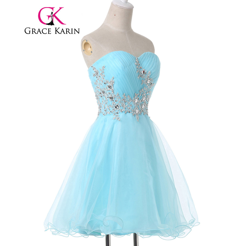 Grace Karin Mini Lace Short Cocktail Dresses Cute Light Blue Sexy ...
