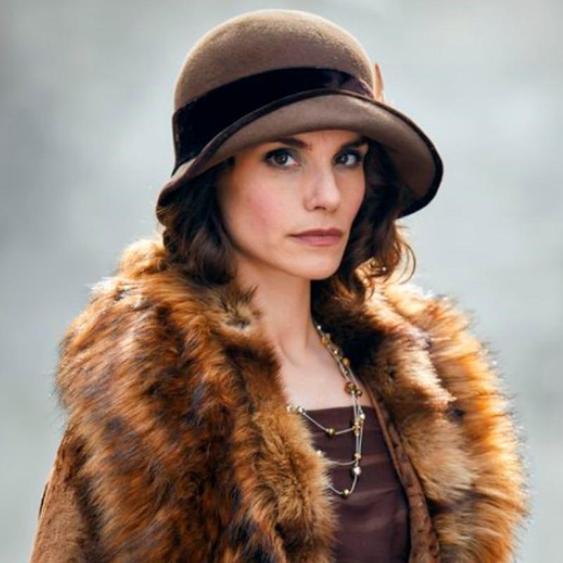 Frauen Wie Braun Farbe Fedora Hut UnabhäNgig Downton Abbey Lady Mary 100% Wolle Schüssel Hut Partei/kirche Britischen Stil Einstellbare Hüte Phantasie Farben