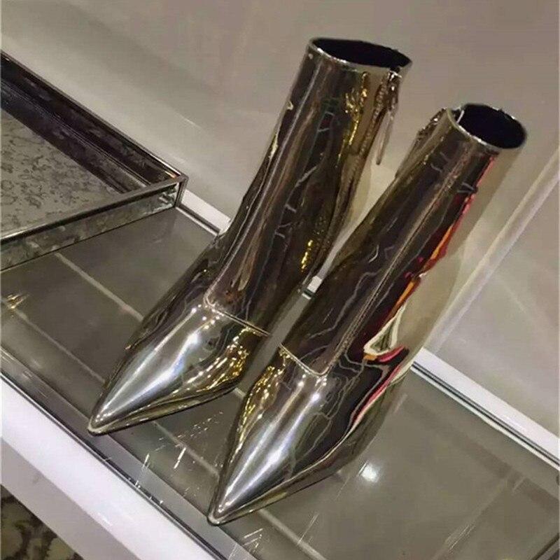 Kardashian Sliver Pointu Verni Hauts Miroir Or Femmes En Cuir Mujer High Bottines 9cm high Talons Mode Zip Heel De Botas 7cm 7cm Bout Pompes Automne Ruban high Gold high bf7vIY6gy