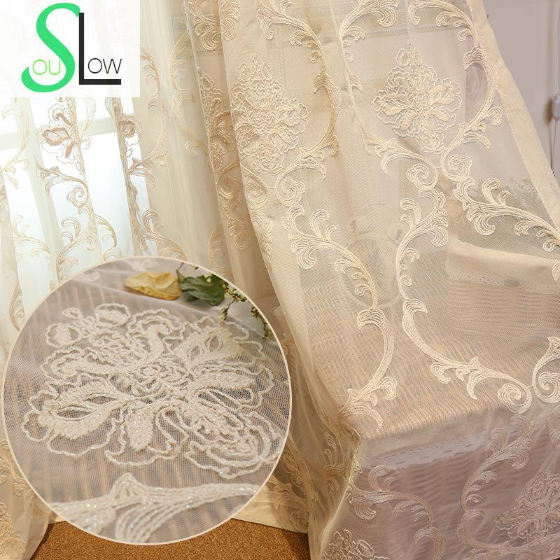 [Slow Soul] 2016 New Curtain European Garden Living Room Bedroom Direct Manufacturers Embroidered Floral Curtains Tulle Luxury
