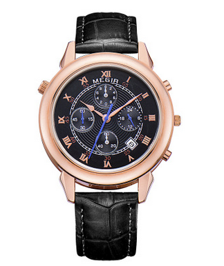 New Arrival Genuine Leather Quartz Watch MEGIR 2510 Luxury Brand Calendar Date Men Fashion Casual Watches