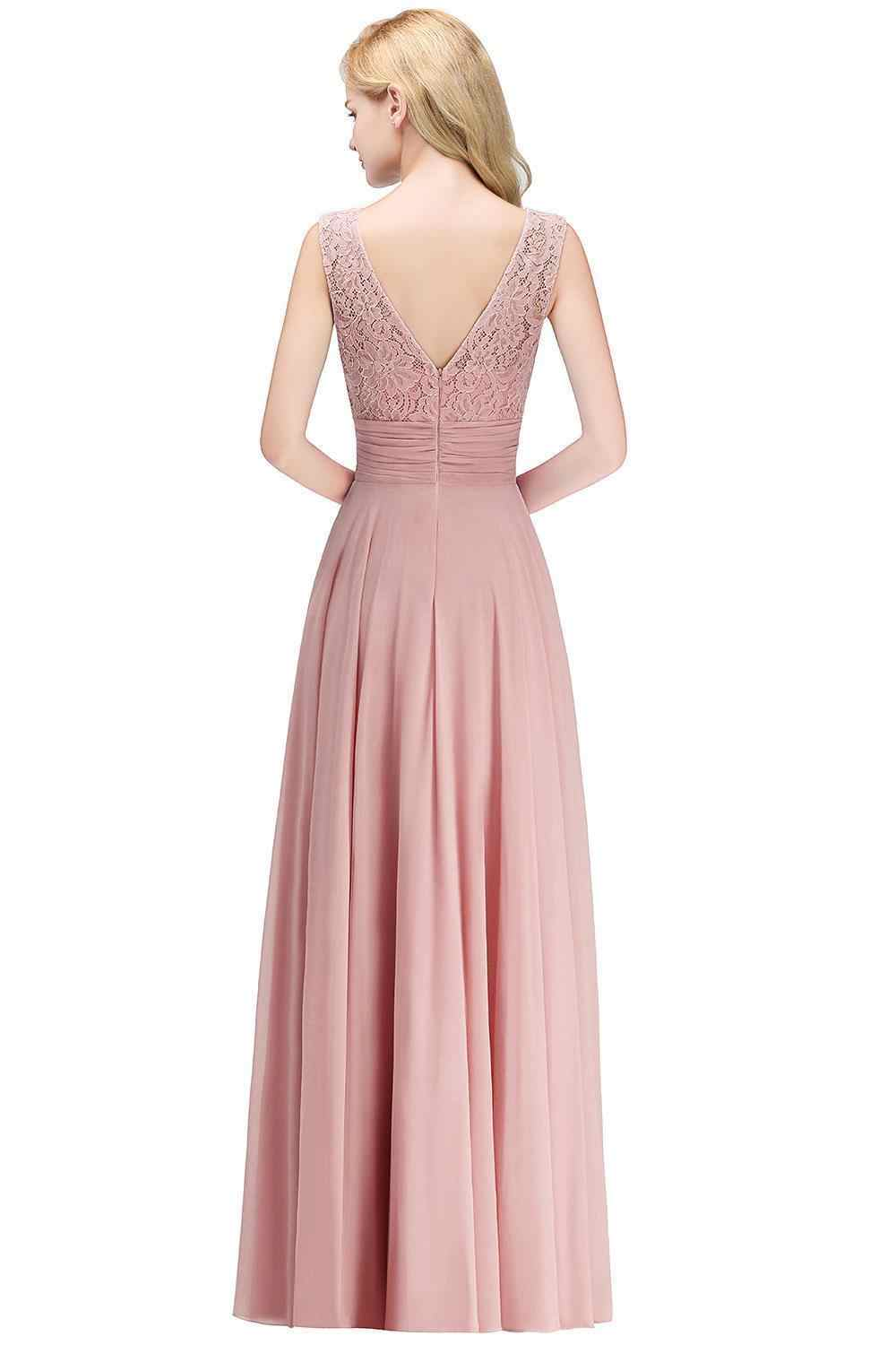 17814a9cf1bc5 Elegant Lace Long Bridesmaid Dresses 2019 Sleeveless Chiffon Ruched Wedding  Guest Maid Of Honor Party Dresses