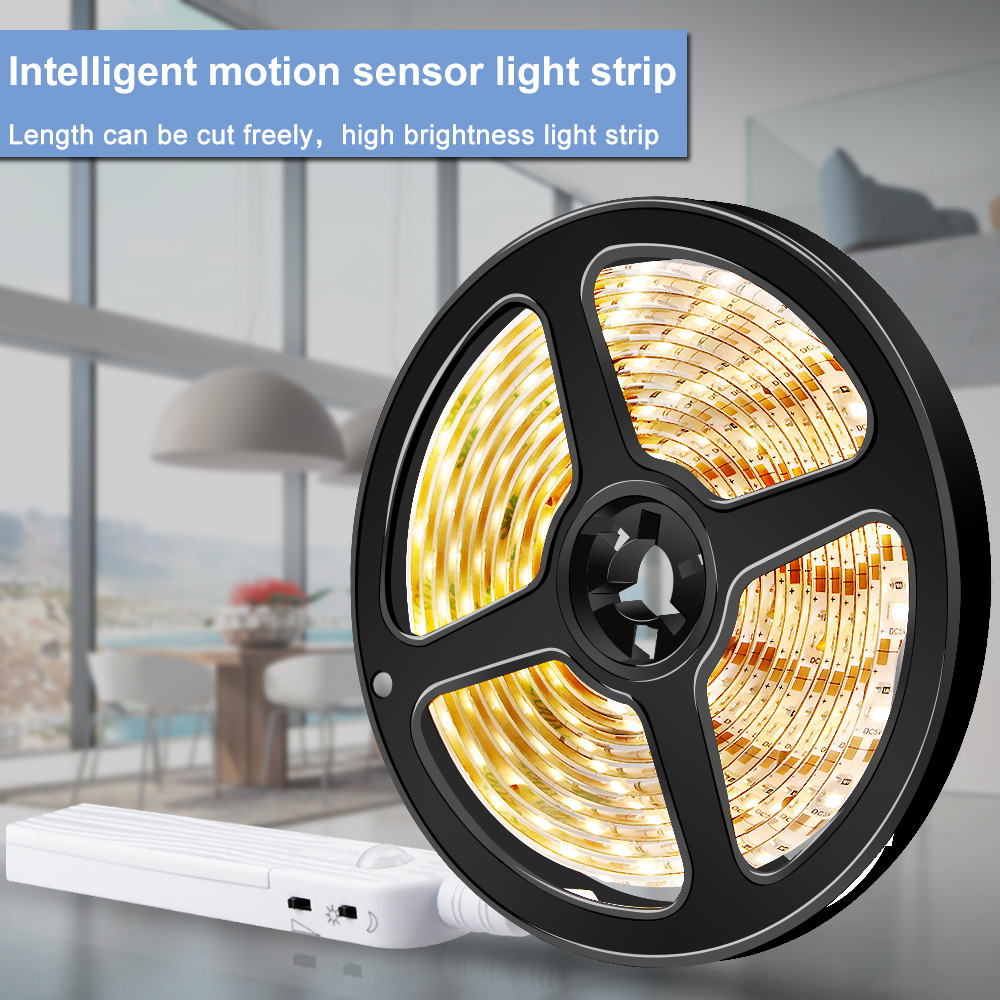 PIR Motion Sensor LED Light Strip Flexible Diode Ribbon LED Tape SMD2835 Waterproof TV Kitchen Closet Decoration Lamp 1M 2M 3M in LED Strips from Lights Lighting