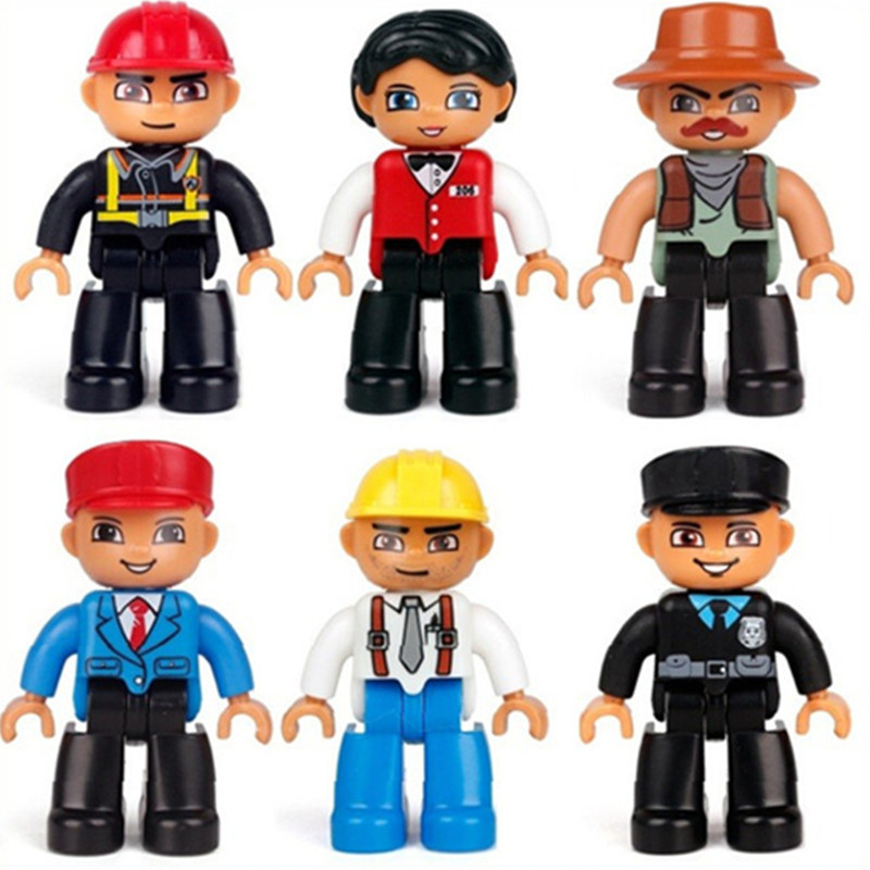 6pcs/set Big Size action figures In Blocks Compatible with Legoingly Duplo Family Worker Policeman Bricks Toys For Children Gift 6pcs set kawaii hello kitty action figures kids toys kt cat toys gift 4 3cm