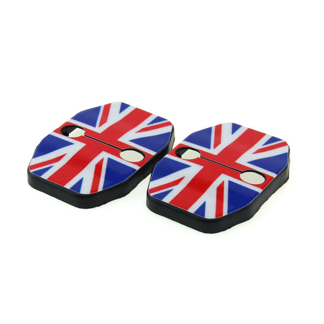 2pcs for bmw Mini Cooper F55 F56 Car door rust resistant door lock Protective buckle cover union jack Checkered Style