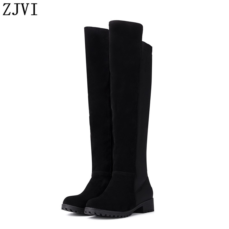 ФОТО ZJVI Nubuck Leather Stretch Black knee high boots women Winter Elegant fashion womens thigh high boots Female woman shoes