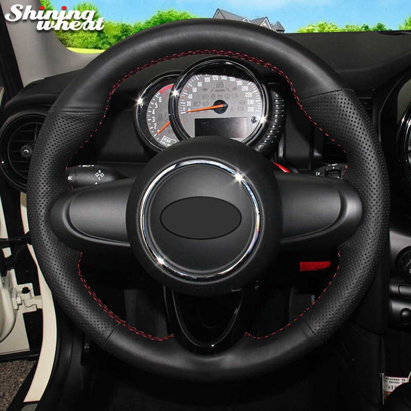 Блестящие пшеницы черный Пояса из натуральной кожи рулевого колеса автомобиля крышки для MINI Coupe 2016