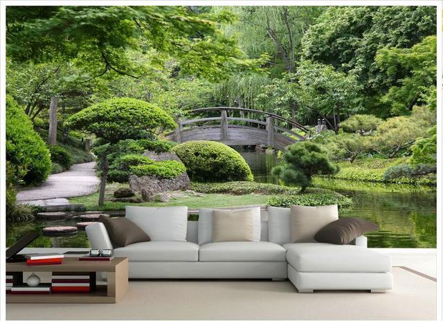 Customized 3d Photo Wallpaper Wall Murals Green Garden Landscape Bridges Background Living