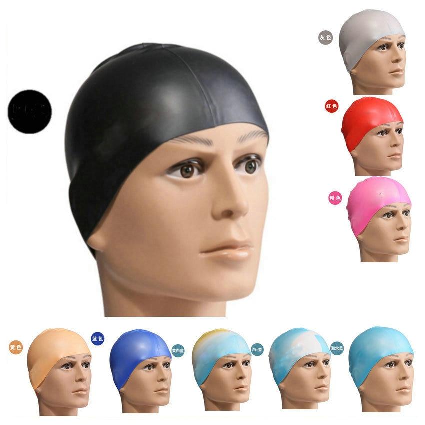 Adults Elastic Waterproof Silicone Swim Swimming Cap Hat Protect Ears Long Hair Men & Women Water Sports Swim Pool Hat Free Size