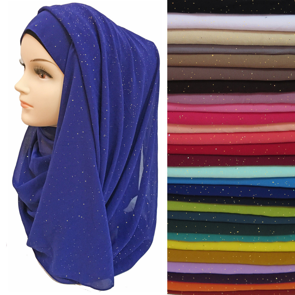 10pcs lot Shiny Sparkle Glitters Plain Color Women s Hijab Scarf Shawl Muslim Headwear Wrap