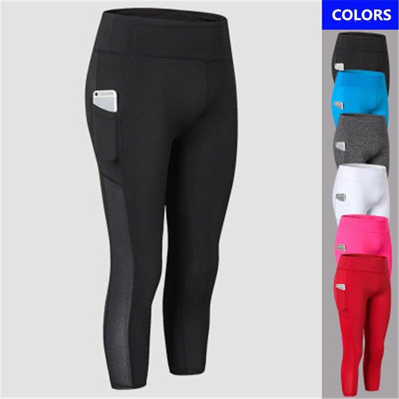 b124ce867ca25 New 3/4 Mesh Yoga Pants Women Sports Clothing Female Sports Wear Fitness  Gym Legging Shorts Compression Training Workout Pant
