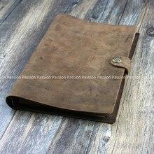 Diario Vintage de tamaño A5, cuaderno de notas planificador personal de cuero genuino, gris, negro, marrón, cuaderno de bocetos de viaje, fresco