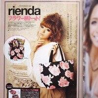MZ128 Japanese Magazine Gift Cute Sweet Lolita Black Floral Shoper Mini Tote Bag 0 2