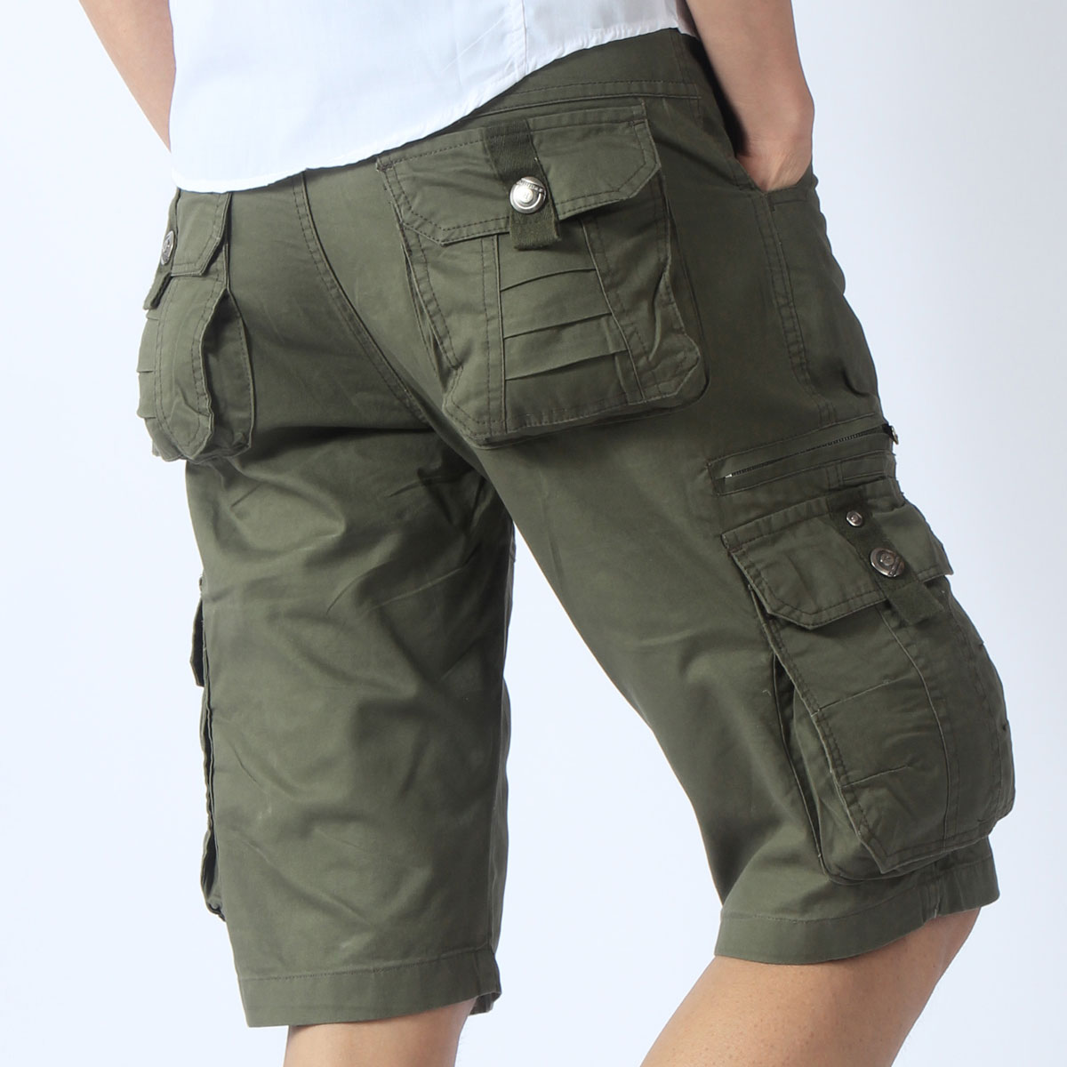 a645f0961 US $22.5 |Men's Army Green Military Shorts Combat Trousers with Pockets  Cool Tactical Cargo Shorts 6 Colors (Without Belt)-in Casual Shorts from  Men's ...