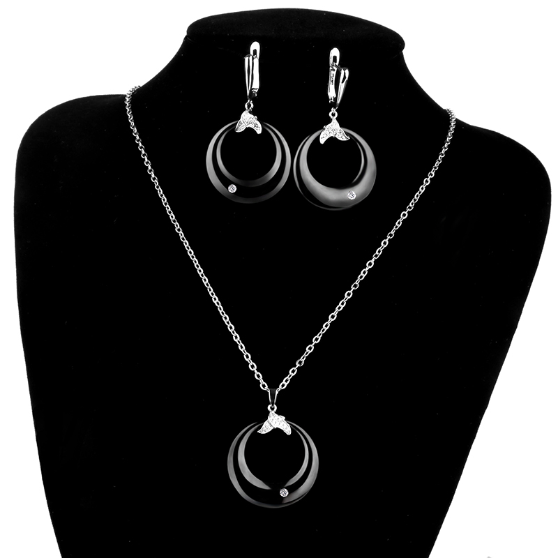 Μαύρο λευκό σκουλαρίκια & κρεμαστό - Κοσμήματα μόδας - Φωτογραφία 6