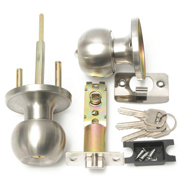Brushed Stainless Round Door Knobs Handle Entrance Passage Lock W