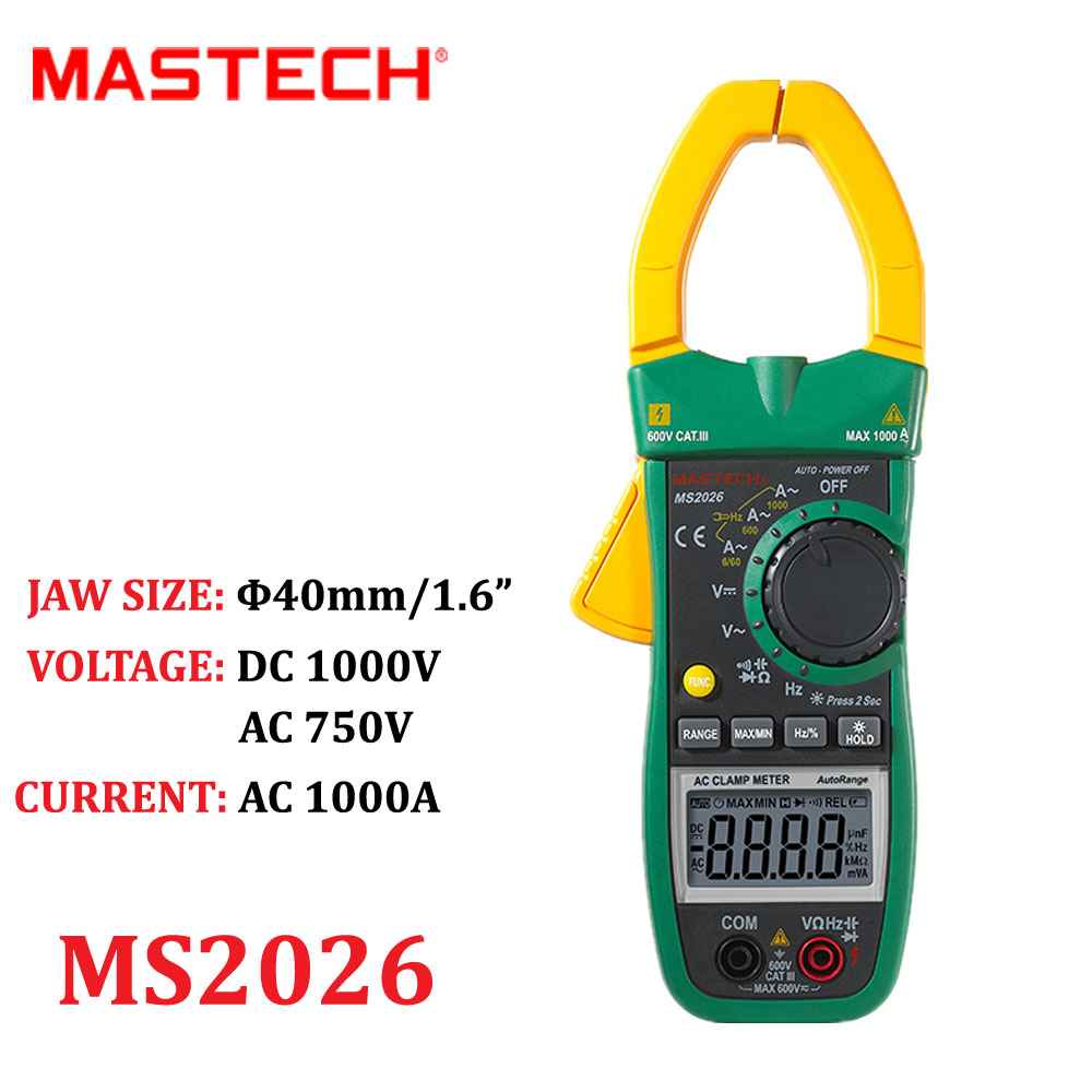 Digital AC Current Clamp Meter Auto Range AC/DC Multimeter Ammeter Voltmeter Ohmmeter Capacitance &Frequency Test MASTECH MS2026 omoikiri tovada 49 1 in