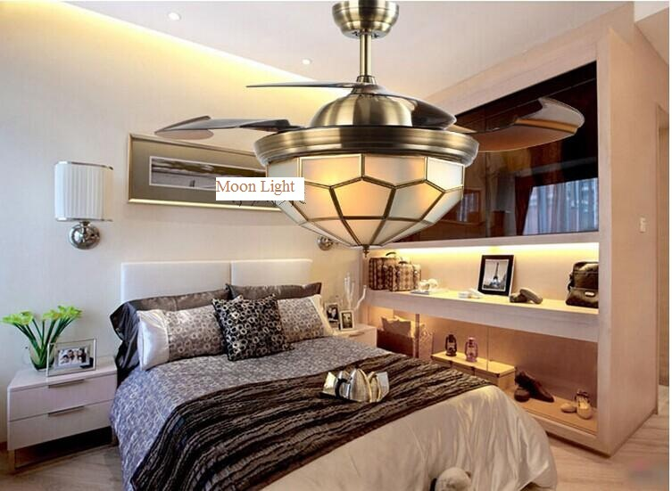 Bronze ABS Blaeds Ceiling Fan 42inch LED Lights Lamp Bedroom Dining Room Copper Light Lighting With Remote Control In Fans From