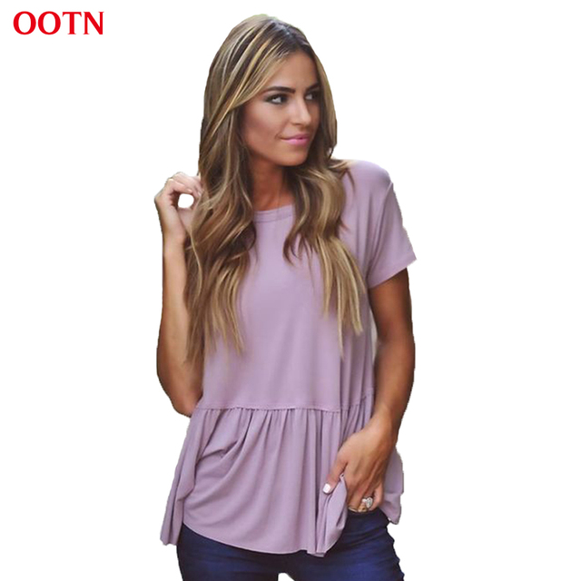 OOTN TX051 O-neck short sleeve ruffle shirts women tops light purple casual t shirt loose solid cotton summer office clothing