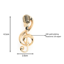 Microphone Music Note Brooch