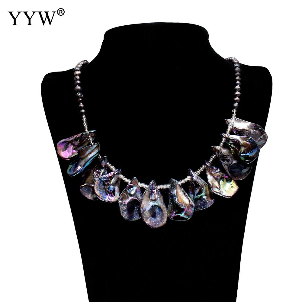 Freshwater Pearl Shell Elegance Necklace Long Seed Beads Chain for Women Jewelry for Wedding Party Nice Gift
