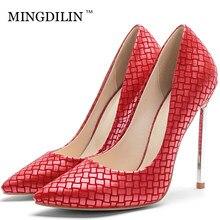 e5790977b959fa MINGDILIN Femmes de Talons hauts Chaussures Sexy Pompes Plus La Taille 33  43 femme Talon Chaussures Rouge Bleu Bout Pointu De Ma.