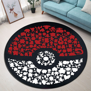 Pokemon Go Ball Circle Velboa Round Area Rug And Carpet for Home Living Room Memory Foam Bedroom Cushion Bathroom Floor Door Mat(China)