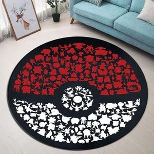 Image 1 - Tapis rond de pokémon Go Ball, Velboa, en mousse à mémoire de forme, pour la maison, chambre à coucher, tapis de sol de salle de bains, pour la maison
