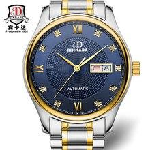 Moda elegante simple binkada relojes banda de acero de la correa de los hombres de primeras marcas de lujo mecánico automático reloj relogio masculino