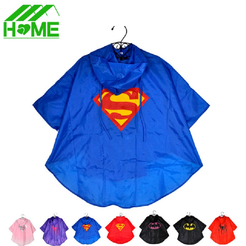 2pc Kids Rain Coat Superman Batman Spiderman Rainwear Boys Girls Waterproof Kid Raincoat Clothes Superhero for