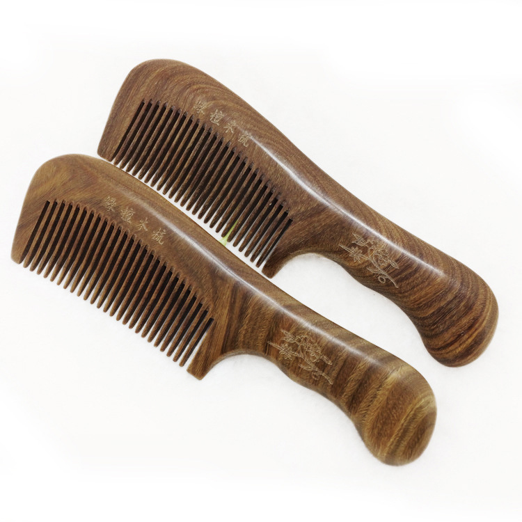 TI49 Wood massage sandalwood comb anti static hairdressing Argentine green sandalwood comb