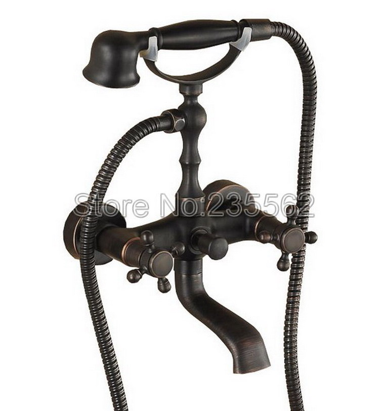 Black Oil Antique Brass Bathroom Shower Faucet Wall Mounted Bathtub Faucets with Handheld Shower Spray lrs018 sognare new wall mounted bathroom bath shower faucet with handheld shower head chrome finish shower faucet set mixer tap d5205