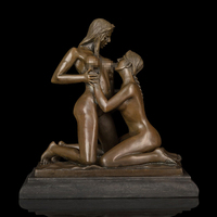 Artwork Western Bronze Sculpture Nude Girl Statue Figurines Christmas Gifts