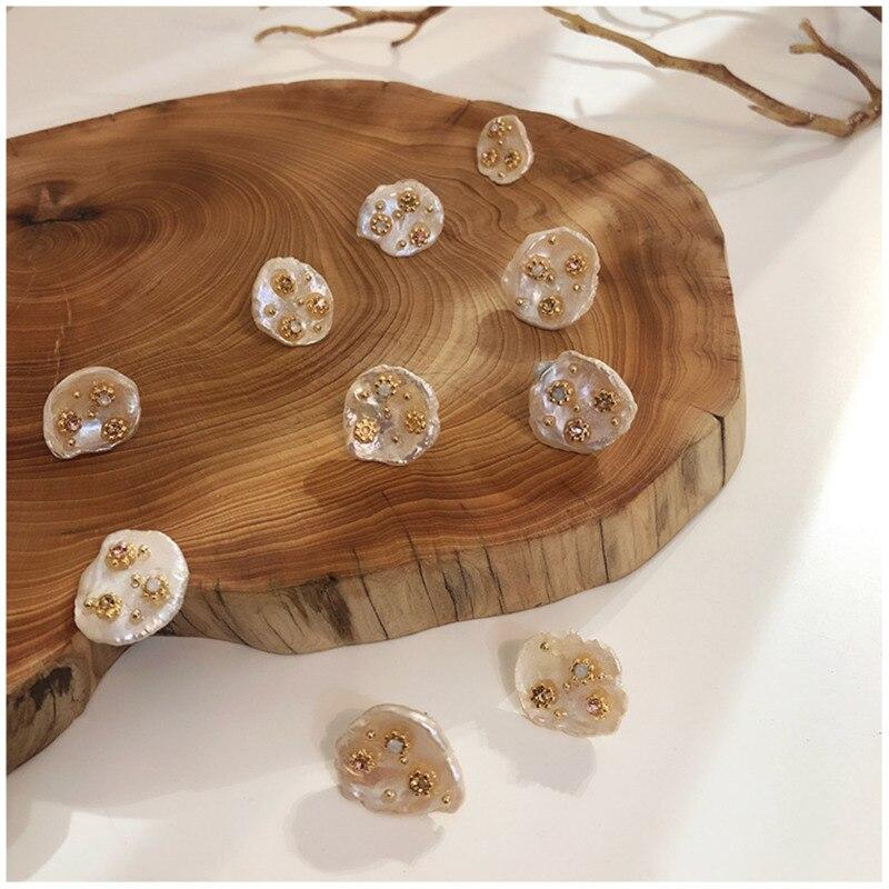 Korean Earrings Freshwater Pearl Earrings Flowers Irregular Retro Baroque Fashion Women Ear Rings 2019 Hypoallergenic Copper