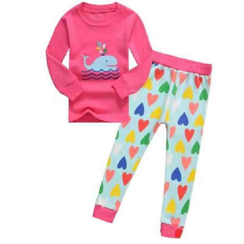 Cute Girls Pajama Sets Cartoon baby girls Clothing Sets For Girls Long Sleeve t-Shirts + Pants 2PCS Suits cotton Kids Clothing