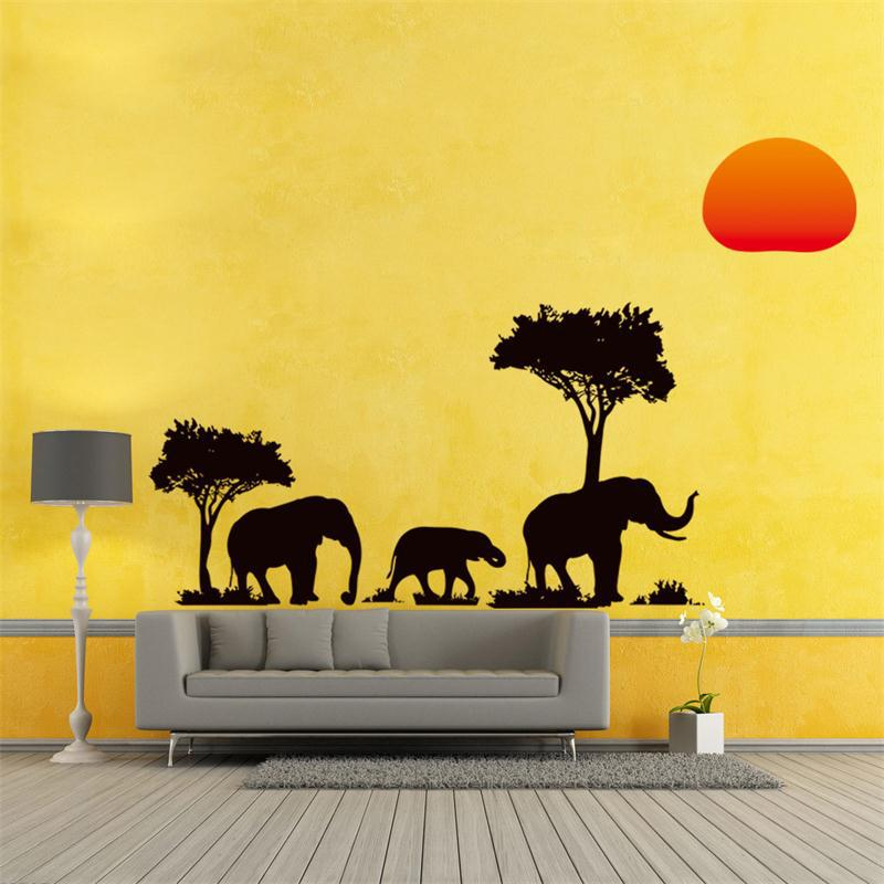 Elephants Family Tree Forest Sun newest creative home decal wall ...