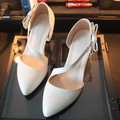 2017 Thick Heel Women Pumps,New Brand Shoes Women,Hollow Out Pointed Toe Fashion Summer Style Color Beige/Black Female Shoes