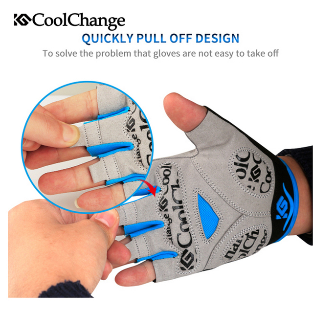 CoolChange Cycling Gloves Half Finger Mens Women's Summer Sports Shockproof Bike Gloves GEL MTB Bicycle Gloves Guantes Ciclismo