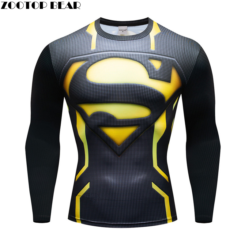 The superman T shirt Crossfit Men Compression Superhero Tops quick dry Breathable Fitness Spring shirt Long Sleeve ZOOTOP BEAR