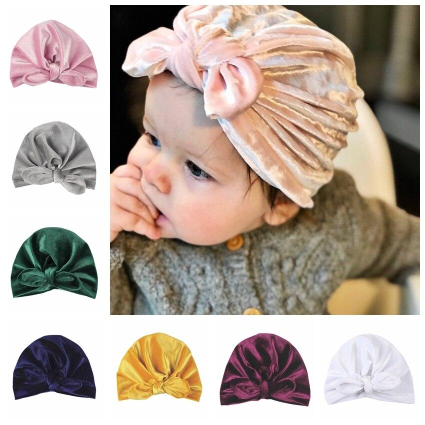 Accessories Nishine 1pcs Gold Velvet Turban Hat Kids Ear Knot Newborn Beanie Top Knot Caps Headwear Birthday Gift Photo Props Bright Luster