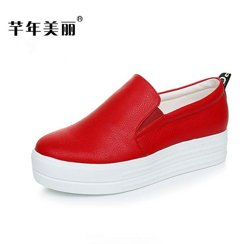 Spring new flat shoes casual size 41 42 Women shoes Small code 32 33 Platform shoes Female thick bottom Loafers obuv 34 43 big small size new 2016 summer fashion casual shoes moccasins bottom shoe platform flat for women s loafers ladies