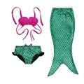 3 PCS Menina Crianças Sereia Cauda Swimmable Bikini Set Maiô 3-12Y Traje Cosplay Fantasia