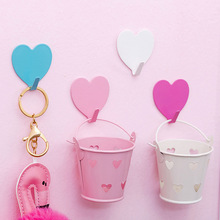 Girl heart pink love glue hook dormitory lovely small fairy room decoration strong