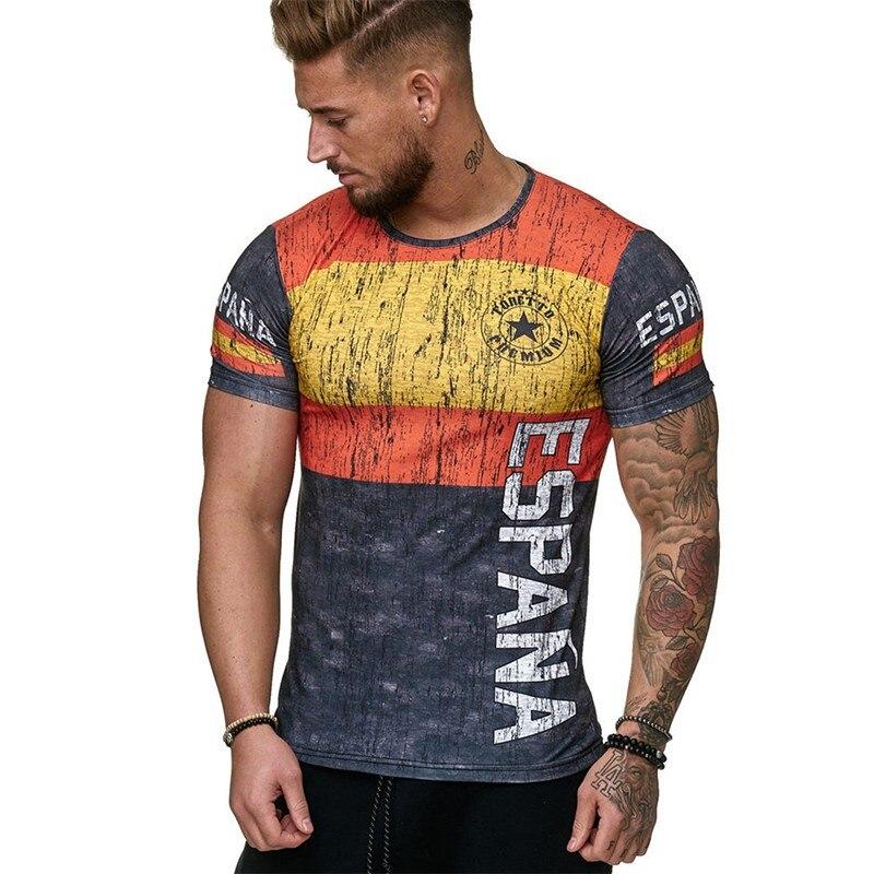 Мужская футболка с коротким рукавом Флаг Футбол Спортивная Удобная дышащая Футболка модная повседневная футболка 2019 летняя одежда Шир